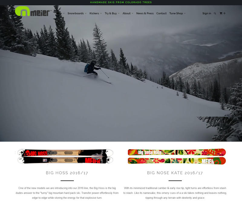 Meier Ski Shopify Website Design Example